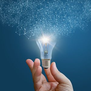 Image of innovative idea concept with lightbulb